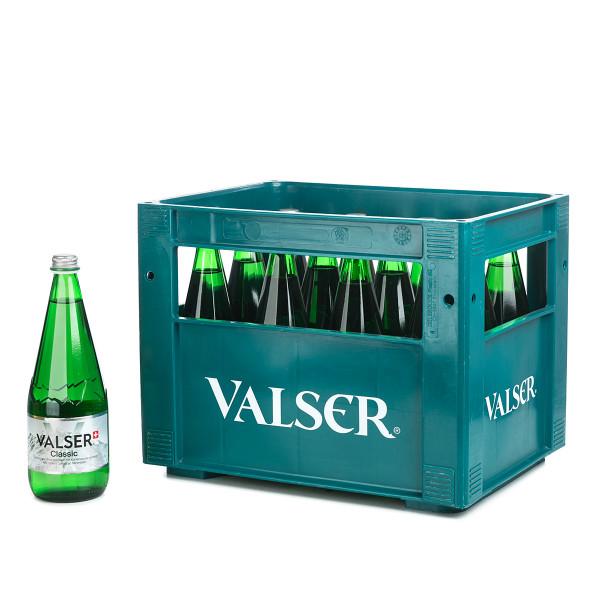Valser Classic in der 0,75l Glasflasche