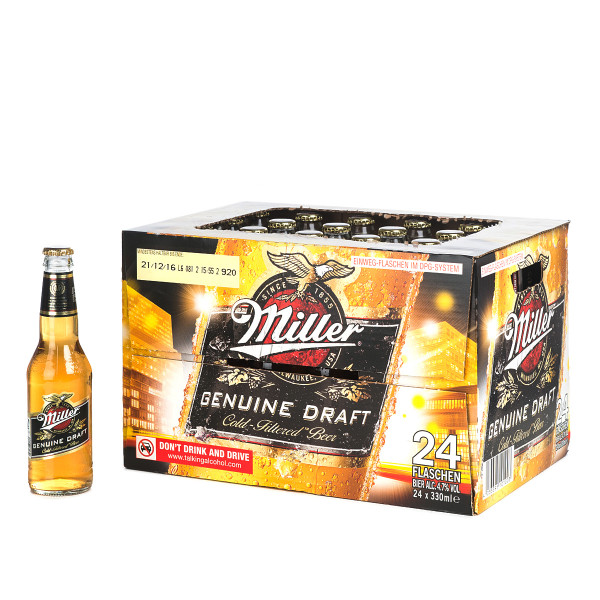 Miller Genuine Draft in der 0,33l Glasflasche