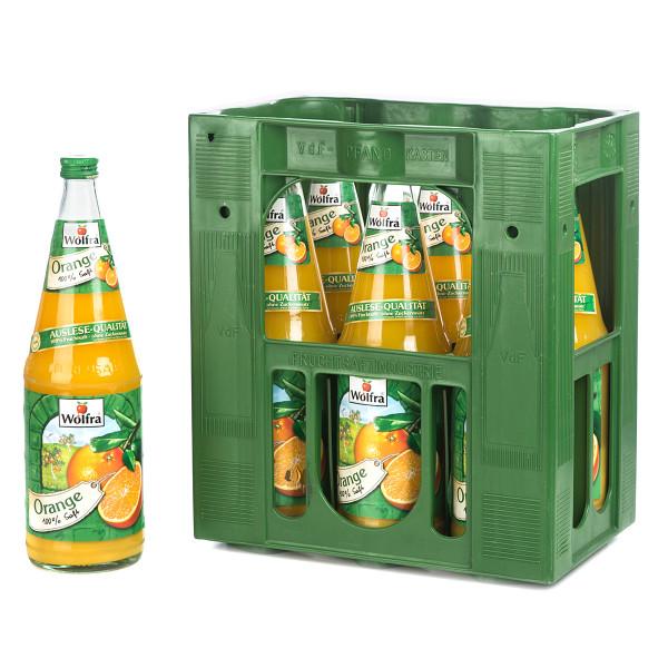 Wolfra Orangensaft in der 1l Glasflasche