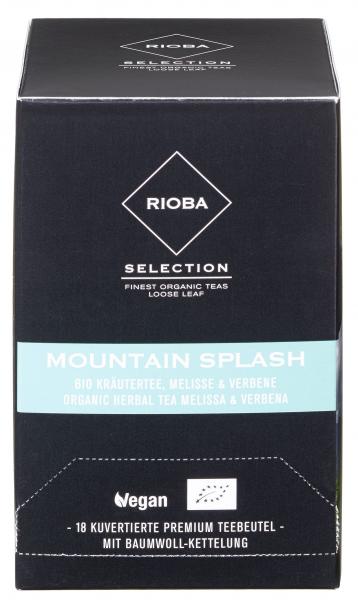 Rioba Bio Mountain Splash Bio Kräutertee Melisse & Verbene Teebeutel vegan - 6 x 55 g Karton
