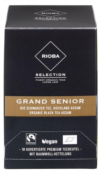 Rioba Bio Fairtrade Grand Senior Bio Schwarzer Tee Hochland Assam Teebeutel vegan - 1 x 27 g Packung