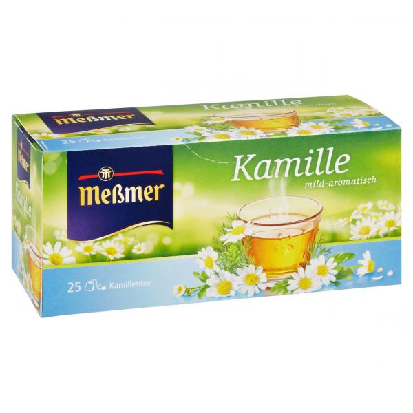 Meßmer Kräutertee Kamille mild-aromatisch, 25 Teebeutel 37,5 g Packung