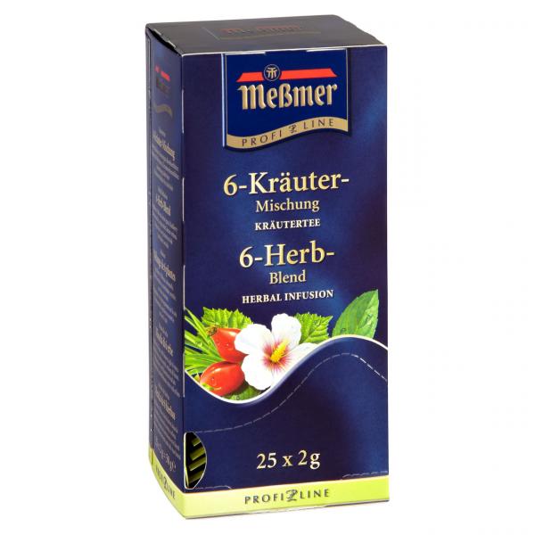 Meßmer Profi-Line Kräutertee 6-Kräuter-Mischung wohltuend-aromatisch 25 Beutel Packung