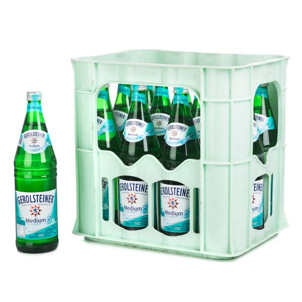 Gerolsteiner Medium Mineralwasser in der Glasflasche